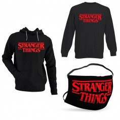 Oferta Sudadera Stranger Things logo + Sudadera Stranger Things logo sin Capucha +Mascarilla Stranger Things