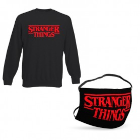Oferta Sudadera Stranger Things Logo Sin Capucha + Mascarilla Stranger Things